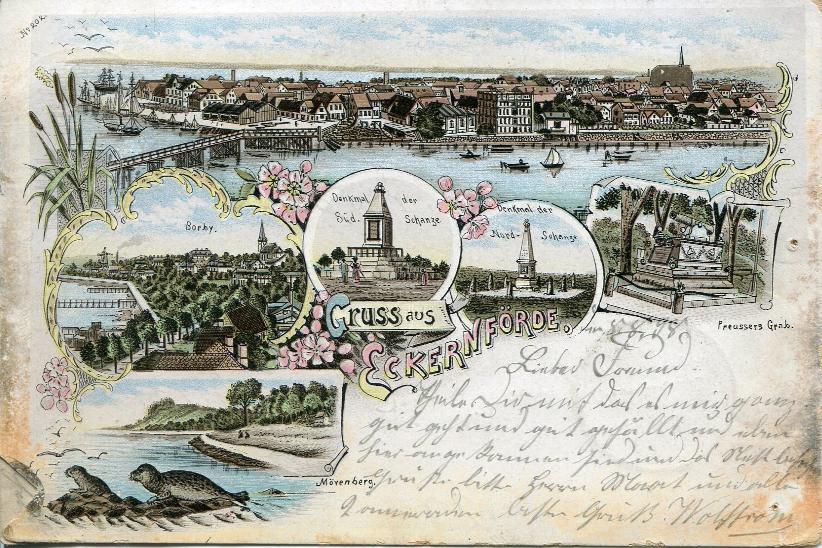 Postkarte Gruß aus Eckernförde 1898
